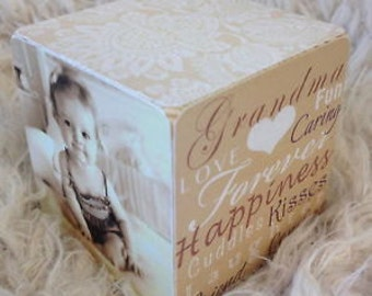 Handmade Wooden Personalised Photo Cube Present Gift Any Occasion Any Colour Any Text