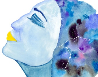 Aquarius---> Watercolor Art, Archival Print, Air Sign, Woman, Celestial, Goddess, Zodiac, Astrology, Blue, Constellation, Stars