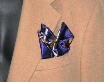 Caleb Collection reversible contemporary satineen pocket square