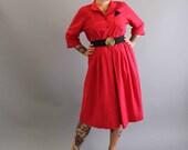 1980s red dress . new wave dress . womens dress large xl . mid length dress