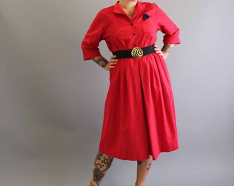 1980s red dress . new wave dress . womens dress large xl . mid length dress