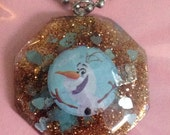 Olaf Snowman From Disney Frozen Gold Resin Pendant Necklace