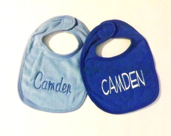 Set of Two Monogrammed Baby Bibs - You Pick All - Colors, Thread, Fonts