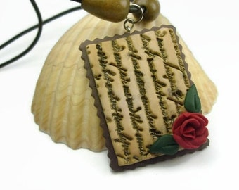 Hand Sculpted Old Handwritten Love Letter Pendant Necklace With Red Rose