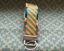 Orange and Green Key Chain, Wristloop Keychain, Wristlet Key Chain
