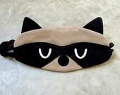 Sleep Eye Mask, Raccoon Eye Mask, Bandit The Raccoon Sleep Mask (Beige Black Color)