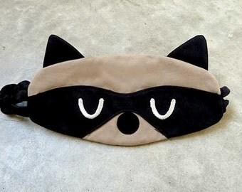 Sleep Eye Mask, Raccoon Eye Mask, Raccoon Mask, Sleep Mask, Eyemask, Eye Cover, Eye Shield, Bandit The Raccoon Sleep Mask (Beige Black)