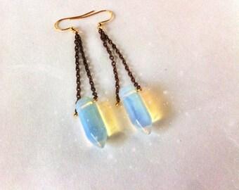 Dagger Shaped Sea Opal -Unicorn Horns- on brass chains - Earrings
