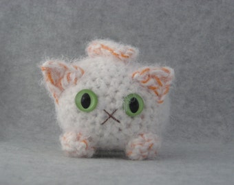 Crocheted flame point plush kitty white and orange marmalade