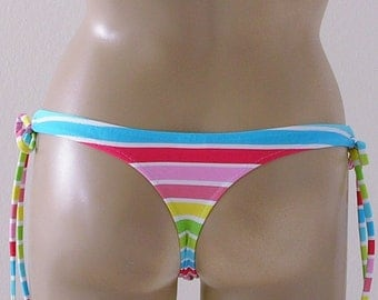 Thong Bikini Bottom with Tie Sides in Cabana Stripe in S-M-L-XL