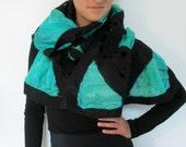 Nuno Felted Shawl Mosaic Lattice Style silk wool greens  black