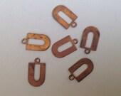 6 U shaped copper connectors ~ drops ~ charms