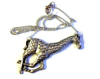 Giraffe Necklace, Silver Giraffe Necklace, Big Giraffe Necklace, Stamped Giraffe, Giraffe Stamping, Metal Giraffe, Giraffe Pendant
