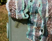 Surf TQ04, an Everyday Scarf in turquoise and handspun made from local sheepswool made by me