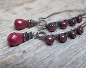 Holly Queen earrings ... antiqued copper wire wrapped earwires with ruby