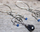 Autumn's Lullaby - Hazy Autumn earrings ... antique silver maple leaves with iolite