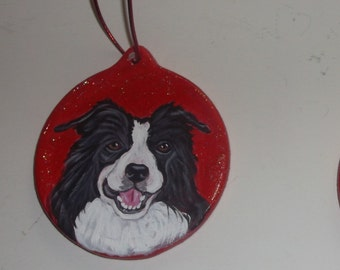 Border Collie Dog Custom Painted Christmas Ornament Decoration