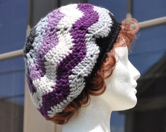 Purple, Gray and Black Ripple Crochet Hat - Lightweight Beret - Chevron Hat - Women's Hat - Purple Hat