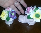 Set 2 Vintage Estate Royal Adderley Pink Floral Bone China England Flowers Rose Carnation Boot Pink