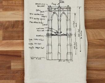 Brooklyn Bridge diagram tea towel, Christmas gift unbleached cotton floursack kitchen towel, city themed dish towel, gift for her