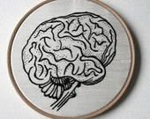 Human Brain Hand Embroidered Stitched Illustration Hoop Art