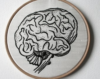 Human Brain Hand Embroidered Stitched Illustration Hoop Art