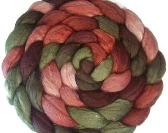 Handpainted Merino Silk 50/50 Wool Roving - 4 oz. PAPER ROSES - Spinning Fiber