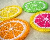 Citrus Slice Coasters - Set of 4 - Orange, Lemon, Lime, Grapefruit