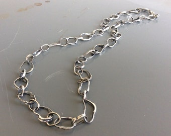 Handforged, hammered solid 23 inch sterling silver link fashion chain - made to order