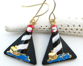 Lighthouse Earrings Hand Painted Metal on Black Glass