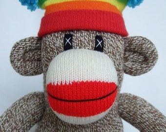 Traditional red heel Sock Monkey with Rainbow Hat (Made to order)