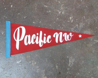 Pacific Northwest - Screen Printed Pennant -RED