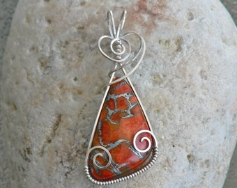Coral and Sterling Silver Citrus Slice Wire Wrap Pendant