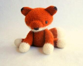 Felted Wool Crochet Fox Plush Toy