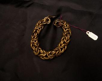 Handcrafted Oxidized Brass Byzantine Chain Bracelet 8 Inches Long