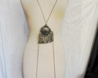 Bast Body Drape Chain with Kuchi Pendants # 4