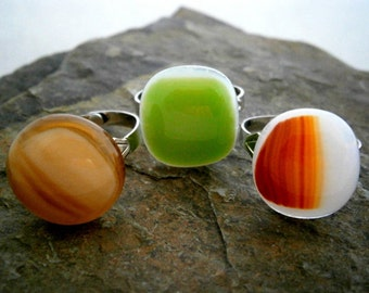 Fused Glass Rings, Glass Jewelry, Glass Rings, Willow Glass,  SALE