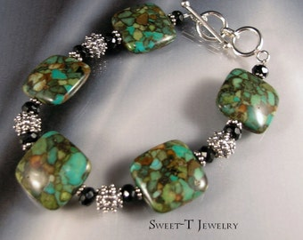 FREE SHIPPING - Mosaic Turquoise Sterling Silver Bracelet