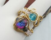 Wire Wrapped Swarovski crystal Ring in Gold toned Copper wire