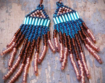 native american navajo style seed bead chandelier earrings of aqua, teal blue, pearly mauve and brown. hand woven by val b.
