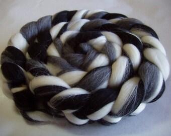 Merino wool roving, spinning fiber, felting wool, dreads, doll hair, roving wool, merino wool top,black, grey, white, 3.5oz, 100g, 100% wool