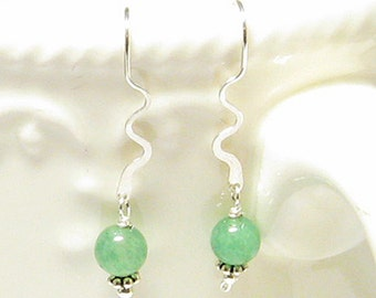 Aventurine and Sterling Silver Squiggle Earrings
