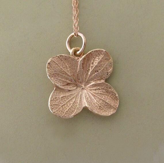 14k Rose Gold Flower Necklace - Hydrangea - Last Minute Gift
