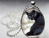 Black Cat -  Oval Pendant in Silver Bezel - Chain Sold Separately