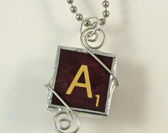 Burgundy Scrabble Letter A Pendant Necklace