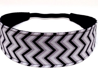 Headband Reversible Fabric  - Black, Grey & White Chevron  -  Headbands for Women - ADELE