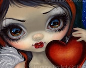 Faces of Faery 225 valentine heart big eye fairy face art print by Jasmine Becket-Griffith 6x6 angel valentine's day