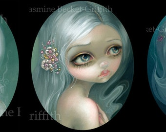 Eyes on the Heavens, Silver Introspection and Wishful Thinking set of THREE art prints by Jasmine Becket-Griffith 8x10 oval spirit ghost