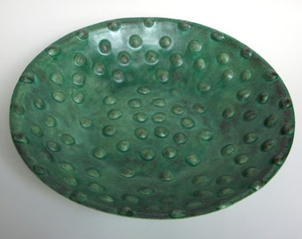 Large Patina Green Serving Bowl with Bumpy Texture