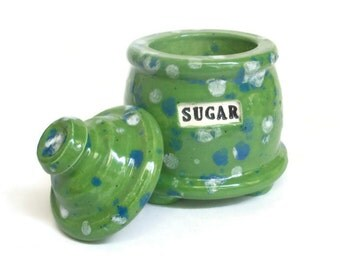 Ceramic Green Sugar Jar with Feet